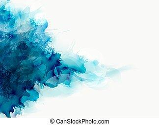 bleu, tache, élégant, grand, résumé, aquarelle, arrière-plan., diffusion, lumière, composition, design.