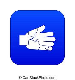 bleu, taches, numérique, icône, main