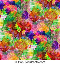 bleu, taches, seamless, jaune, aquarelle, clair, coups ...