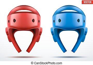 bleu, taekwondo, ensemble, helmets., rouges