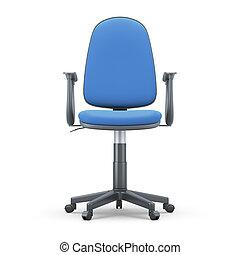 bleu taille, bureau, fond, chaise, blanc