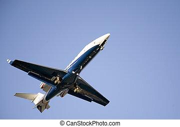 bleu, taking-off, gicleur corporation