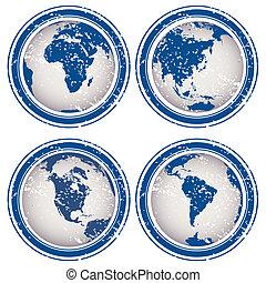 bleu, tampons, globes, la terre