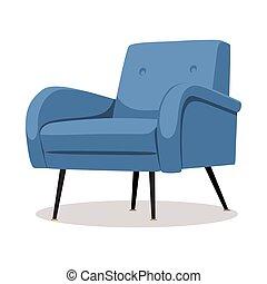 bleu, tapisserie ameublement, fauteuil, moderne, -, isolé, élément, arrière-plan., conception, intérieur, blanc, doux