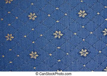 bleu, tapisserie ameublement, vieux, tissu, fleurs jaunes