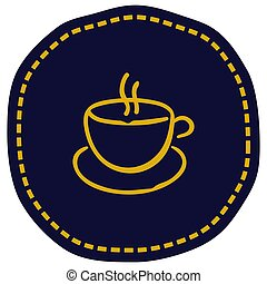 bleu, tasse, illustration, vecteur, fond, icône
