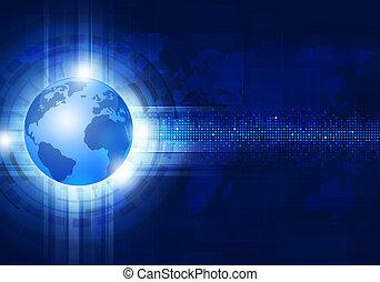 bleu, technologie, business, fond