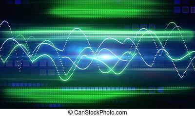 bleu, technologie, carrés, vert, courbes