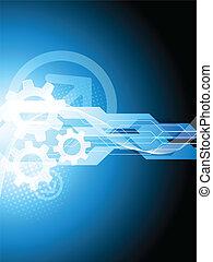 bleu, technologie, fond