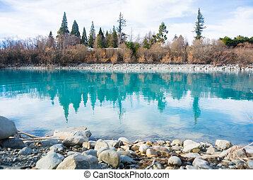 bleu, tekapo, lac, zélande, nouveau