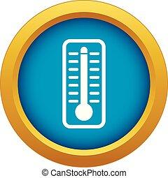 bleu, température, isolé, élevé, indique, vecteur, thermomètre, icône
