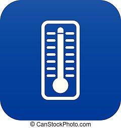 bleu, température, thermomètre, élevé, indique, numérique, icône