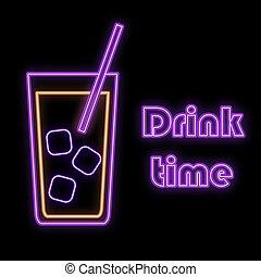 bleu, temps barre, cocktail, espace, simple, résumé, boisson, néon, incandescent, glace, signe, verre, clair, vecteur, noir, arrière-plan., violet, icône, paille, copie