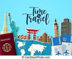 bleu, temps, destination., texte, repère, vide, tour, voyager, voyage, coupure, vecteur, design., bâtiment, espace, fond, papier, voyage