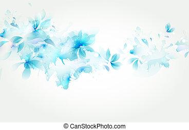 bleu, tendre, résumé, fleur, fond