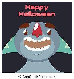 bleu, tentacules, halloween, monstre, salutation