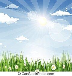 bleu, terre, printemps, ciel, herbe verte, bannière, paysage