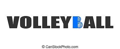 bleu, texte, balles, volley-ball, logo