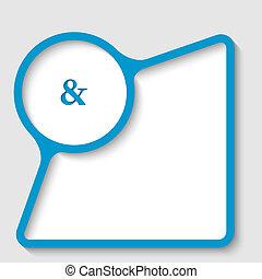 bleu, texte, cadre, esperluète, signe