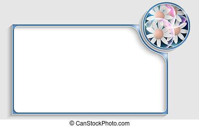 bleu, texte, cadre, fleurs