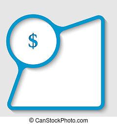 bleu, texte, cadre, signe dollar