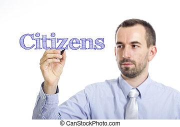 bleu, texte, citoyens, -, jeune, surface, écriture, homme affaires, transparent