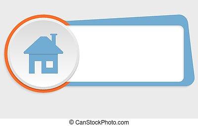 bleu, texte, encadrer icône, maison