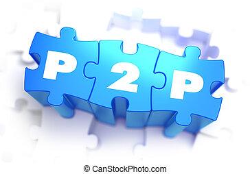 bleu, texte, puzzles., -, p2p