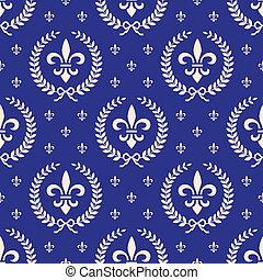 bleu, textile, royal, seamless, modèle