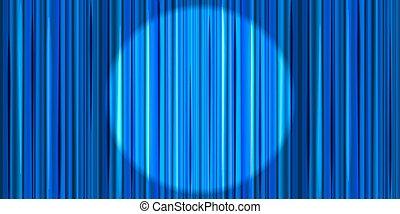bleu, théâtre, rond, éclairage, clair, retro, fond, rideau, projecteur, étape
