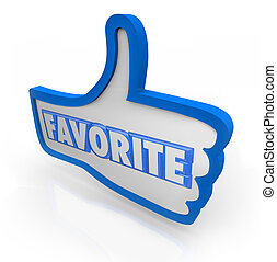 bleu, thumb's, mot, média, favori, haut, social