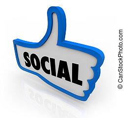 bleu, thumb's, réseau, communication, symbole, haut, social