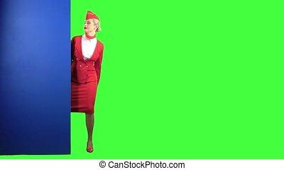 bleu, thumbs-up., écran, derrière, vert, planche, jette coup...