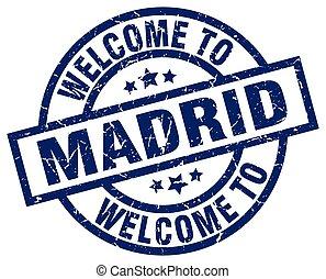 bleu, timbre, accueil,  Madrid