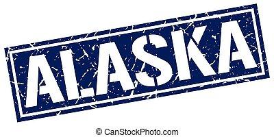 bleu, timbre, carrée, alaska