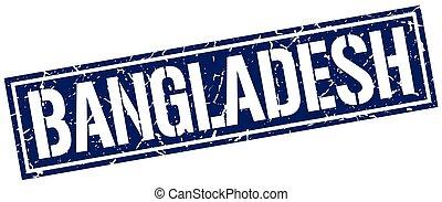 bleu, timbre, carrée, bangladesh