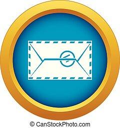 bleu, timbre, enveloppe, isolé, vecteur, courrier, icône