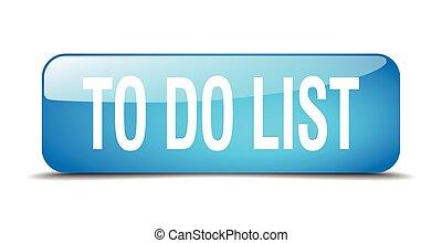 bleu, toile, carrée, bouton, liste, isolé, réaliste, 3d