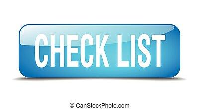 bleu, toile, carrée, bouton, liste, isolé, réaliste, chèque, 3d