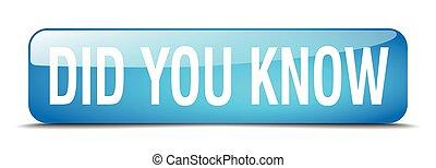 bleu, toile, carrée, did, bouton, isolé, réaliste, savoir, vous, 3d