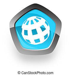 bleu, toile, chrome, métallique, lustré, la terre, icône pentagone