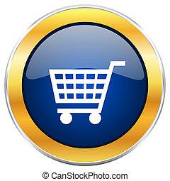 bleu, toile, doré, chrome, apps, isolé, charrette, métallique, mobile, designers., fond, blanc, frontière, icône