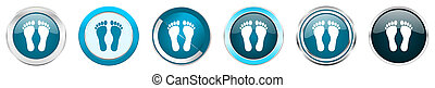 bleu, toile, ensemble, icônes, chrome, options, isolé, métallique, boutons, fond, 6, pied, blanc, frontière, argent, rond