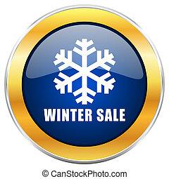 bleu, toile, hiver, doré, chrome, apps, isolé, vente, mobile, designers., fond, blanc, métallique, frontière, icône