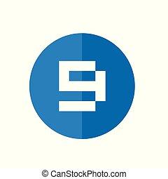 bleu, toile, style, plat, -, nombre, couleur, 9, vecteur, conception, icône, blanc, rond