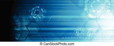 bleu, toile, technologie, résumé, clair, conception, bannière