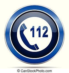 bleu, toile, urgence, 10, mobile, bouton, moderne, eps, métallique, applications, vecteur, conception, lustré, appeler, icon., argent
