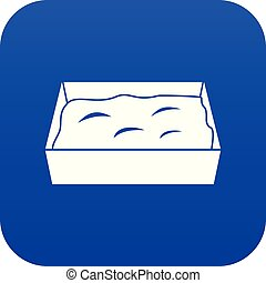 bleu, toilette, chat, numérique, icône