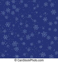 bleu, tomber, flocons neige, fond, noël