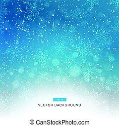 bleu, tomber, neige, fond